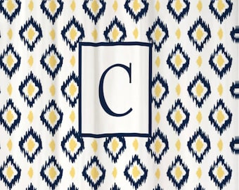 Shower Curtain Ikat Diamonds YOU CHOOSE COLORS 70, 74, 78, 84, 88, or 96 inch Extra Long Custom Monogram Personalized Shown Navy & Butter