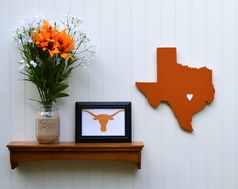 "Texas Longhorns ""State Heart"" wall art, handcrafted wood with official team colors"