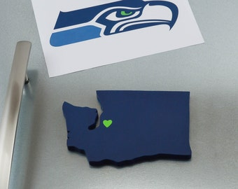 "Seattle Seahawks ""State Heart"" Magnet, handcrafted wood with official team colors"