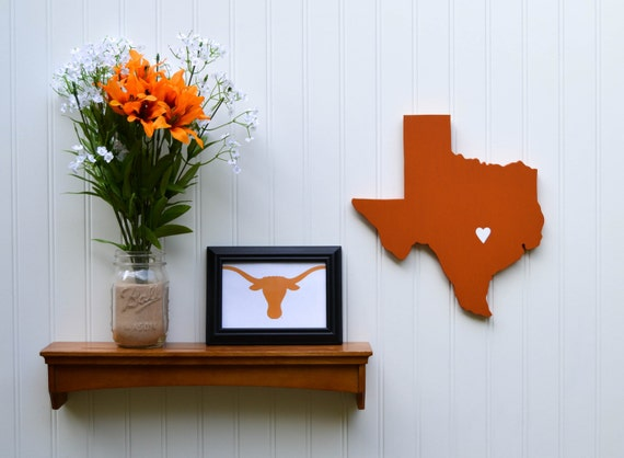"""Texas Longhorns """"State Heart"""" wall art, handcrafted wood with official team colors"""