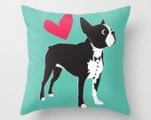 Puppy Love Boston Terrier Throw Pillow Cover - Insert Optional