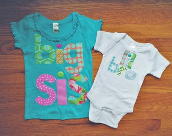 Big Sister Shirt and Little Brother Bodysuit, Big Sis Shirt, Lil Bro Bodysuit, Little Brother, Matching Brother and Sister