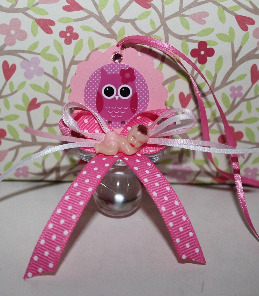 pink owl baby shower party favor by dualcreations on etsy