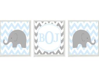 Elephant Nursery Art Print Set  - Chevron Baby Blue Gray Decor - Initial Monogram Personalize - Modern Baby Boy Room - Wall Art Home Decor