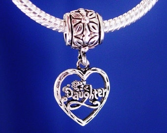 Daughter Dangle Heart European Charm Bead Silver Plated Jewelry girls bracelet designed to fit your style