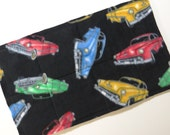 "Quilted Fleece Pet Carrier Pad, 19-1/2"" x 12"", Black With Multi 50's Style Hot Rod Cars, Reversible With A Center Layer Of Cotton Batting."
