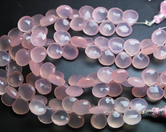 8 Inches Strands,Rose Chalcedony Faceted Heart Briolettes 10-11mm Large Size, Wholesale Price