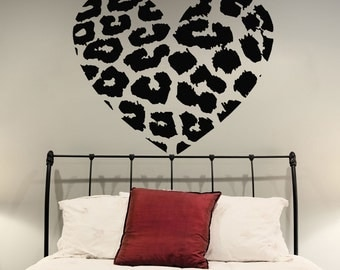 Vinyl Wall Decal Leopard Skin Heart Shape / Animal Skin Print Art Decor  Sticker / Home DIY Removable Mural + Free Random Decal Gift!