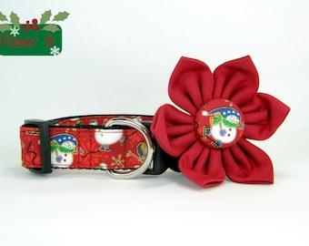 Santa Christmas Dog Collar with flower set (Mini,X-Small,Small,Medium ,Large or X-Large Size)- Adjustable