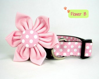 Dog Collar with Flower set- Pink Polka Dot  (Mini,X-Small,Small,Medium ,Large or X-Large Size)- Adjustable