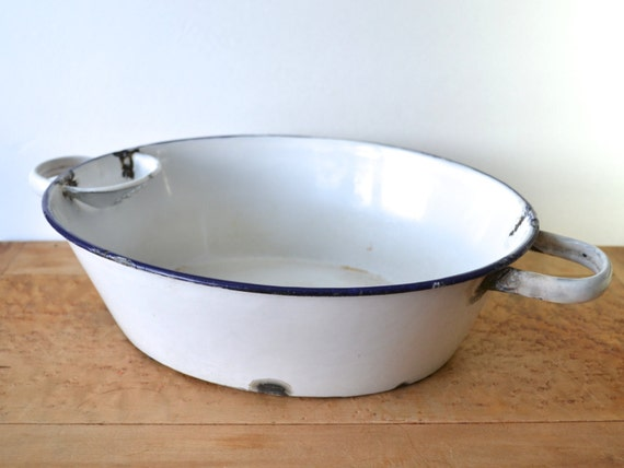 Old German Enamelware Wash Basin With Soap Dish And