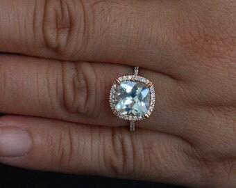 Aquamarine Engagement Ring Diamond Ring in 14k Rose Gold with Aquamarine Cushion 9mm and Diamonds