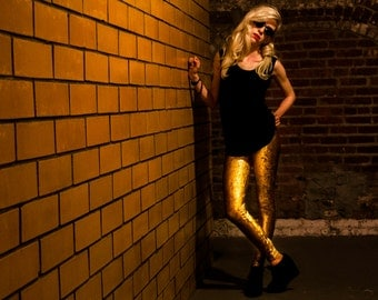 Gold Metallic velvet leggings