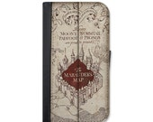 Harry Potter Inspired Marauder's Map Wallet Case for Samsung Galaxy S3, S4, S5, S6, S6 Edge, S7 or Galaxy S7 Edge.