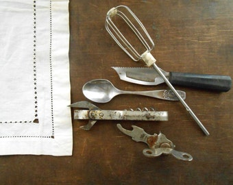 Soviet vintage kitchen utensils Set of 5 USSR era corkscrew spoon bottle opener Primitive kitchen utensil 60s Gift for him