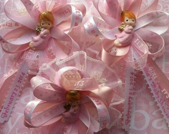"""Baby Shower Angels Theme """"It's a Girl"""" Guest Corsage, Guest Capias, Baptism Corsage, Angels Theme Corsage, Birthday Corsage"""