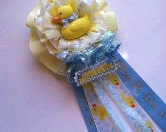 "Rubber Ducky Mommy To Be Baby Shower Corsage  ""It's a Boy"" Rubber Dukcy  Theme Baby Shower Yellow & Blue Theme"