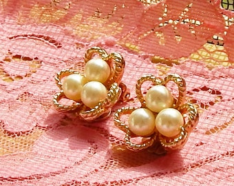Marvella Jewelry Earrings with 3 Pearls and 3 Gold tone Hearts Costume Jewelry Clip on Earrings