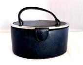 Vintage Empress Navy Blue Oval Box Purse