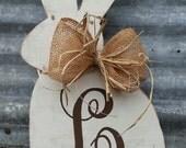 Distressed Rabbit Hand Painted Wood Bunny Door / Wall Hanger Burlap Bow