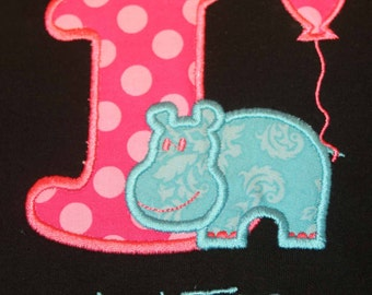 Hippo Birthday Number Shirt or Onesie - Custom Monogrammed