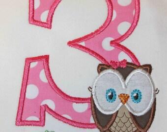 Look Whoo's One Owl Birthday Number Shirt or Onesie - Custom Monogrammed