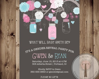 Hanging Jars Gender Reveal Party Invitation, Jars, Gender Reveal Party, Gender Party, Baby shower, hanging jars