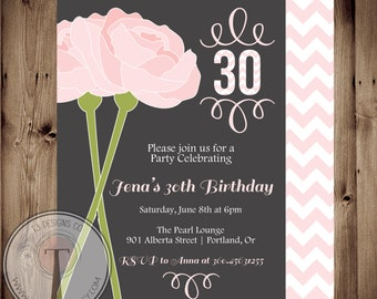 60th Birthday Invitations Adult Birthday Invitation