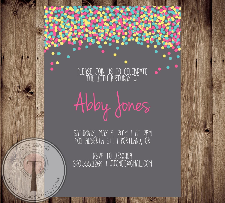 Confetti birthday invitation, bright birthday invite, girls ...
