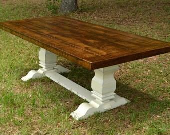 Harvest Table   Dining Table   Farmhouse Table Oak - Dark Walnut Stain