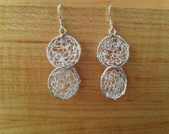 Hand crocheted sterling silver earrings