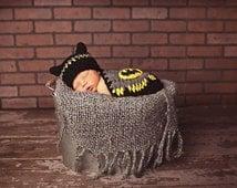 Batman Inspired hat and cape. Newborn baby boy photo prop bat hat and cape. Crochet super hero hat and cape.