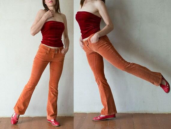Womens orange corduroy pants/ boot cut boho hippie pants/