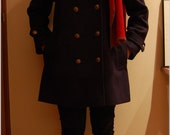 Navy Blue Pea Coat with Gold Buttons
