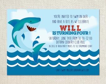 Shark waves ocean pool birthday party invitations