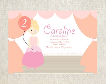 Princess stage birthday party invitations