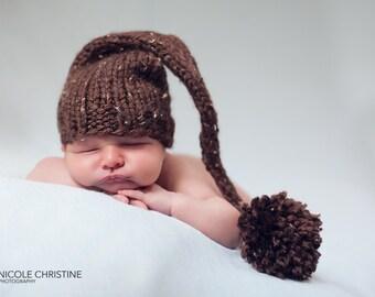 Brown Tweed Elf Baby Hat Size Newborn Elf  Knitted Photo Prop