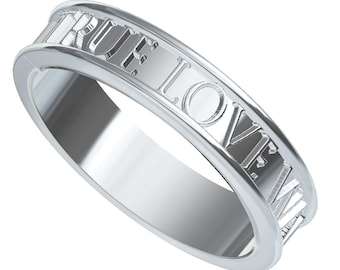 Christian Purity Ring True Love Waits Custom Made in 18K Gold, Made in Your Size R5001