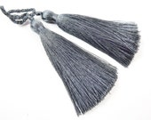 Long Gray Silk Thread Tassels -  3 inches - 77mm  - 2 pc