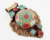 Ethnic Turquoise Coral Tribal Brass Pendant - No:40 - Tibetan Nepalese Handmade