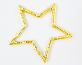 Gold Star Pendant - 22k Matte Gold Plated - 1PC