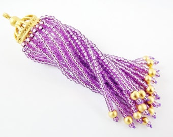Long Sparkly Lilac Purple Beaded Tassel - 22k Matte Gold Plated Brass - 1PC