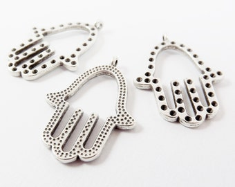 3 Double Sided Hamsa Hand of Fatima Hamsa Charms - Matte Antique Silver Plated