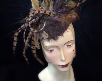 Feather Fascinator Headpiece Hat by Ruby & Cordelia's Millinery
