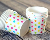 12oz Ice Cream Cups Polka Dot - Set of 10