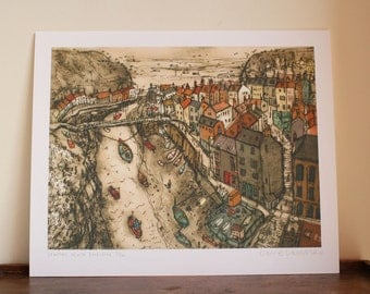 STAITHES ART PRINT, North Yorkshire Coast England Whitby, Coastal Fishing Village, Drypoint, Limited Edition Giclee Print by Clare Caulfield