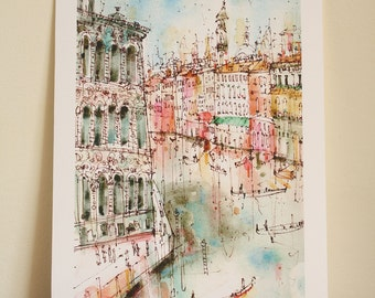 VENICE GRAND CANAL, Signed Art Print, Italy Watercolour Painting, Venice Wall Art, Grand Canal Venice, Gondolas, Italian Home Decor, Venezia