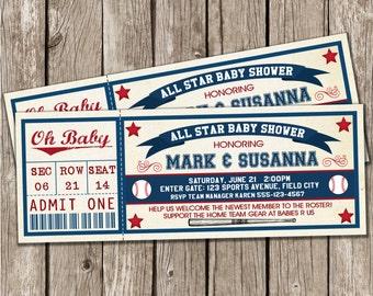 Vintage Baseball Invitation - Baseball Baby Shower - DIY Printable