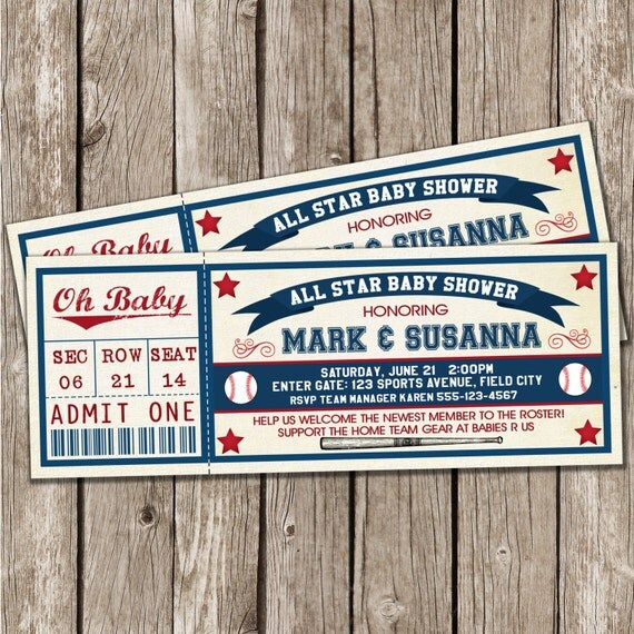 Vintage Baseball Invitation Baseball Baby Shower DIY