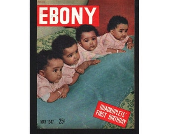 Sale, Vintage Magazine Cover, Ebony, May, 1947 ,  (The Fultz quadruplets) 032